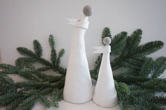 Ceramic Christmas angel USD 58.00 This elengant set of 2 is handmade with love and a little spark. Its a beautiful addition to your Christmas home decor giving a festive warmth.   Perfect for individual presents to cherish for birthdays, anniversaries or simply Christmas presents. http://www.myrotara.com