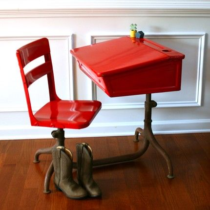 RESERVED FOR ACFITTS Inspired Learning. Vintage School Desk and Chair.  Metal. Wooden. Fire Engine Red Elementary. Vintage Antiques by Rhapsody  Attic on - 131 Best Vintage School Desk Images On Pinterest Standing Desks