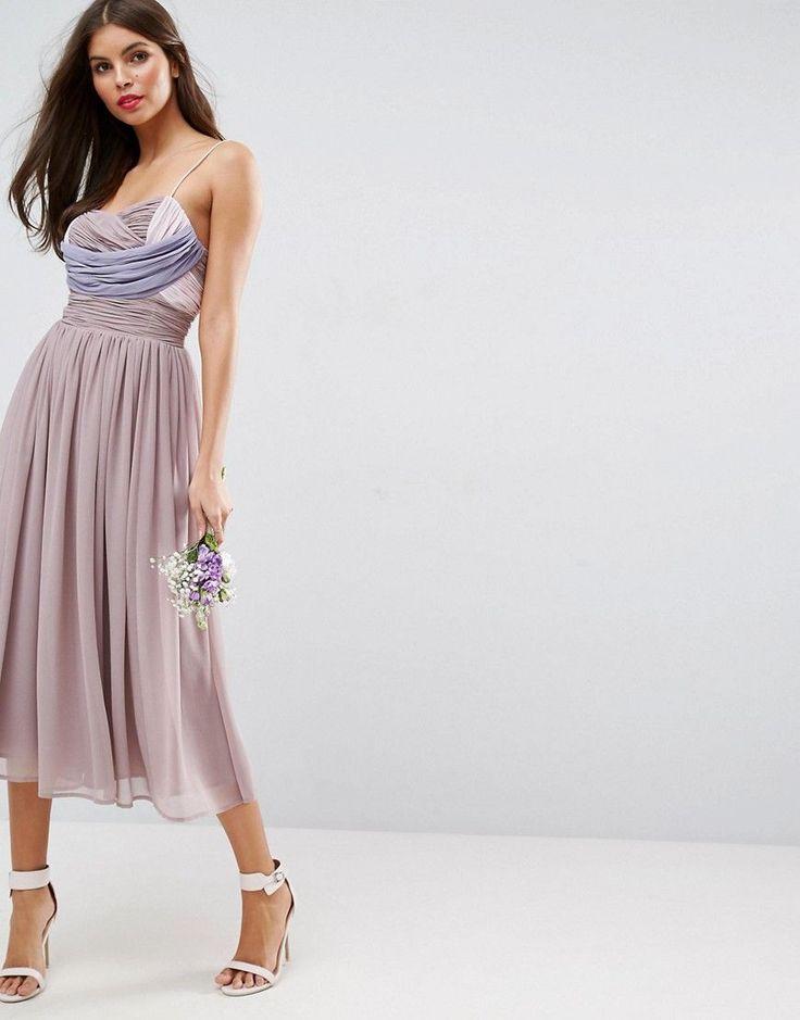 ASOS WEDDING Ruched Color Block Midi Dress - Purple