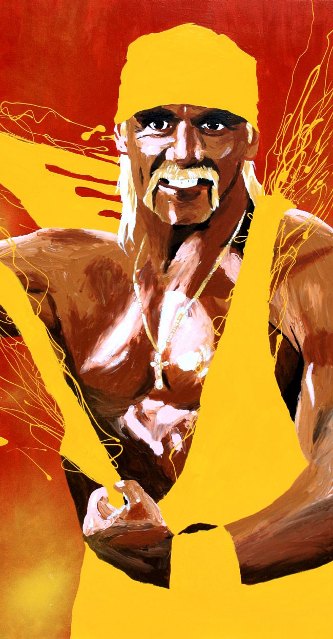 Acrylic, oil and spray on 24″ x 48″ wood    The Immortal Hulk Hogan  l #WWE