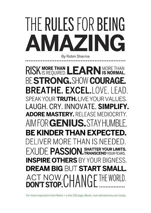 How to be amazing.