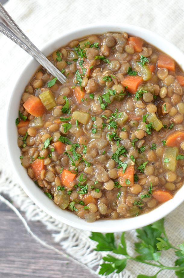 Slow Cooker Lentil Soup | @simplywhisked