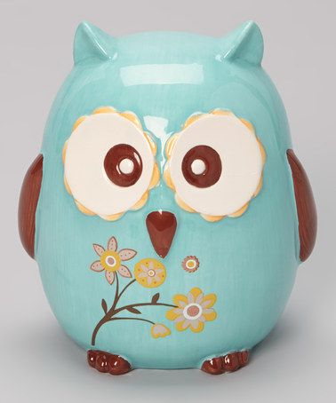 Take a look at this Blue Flower Branch Owl Bank by GANZ on #zulily today!