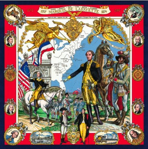 Even history can be recorded on a scarf marquis de Lafayette by Kermit oliver for Hermes