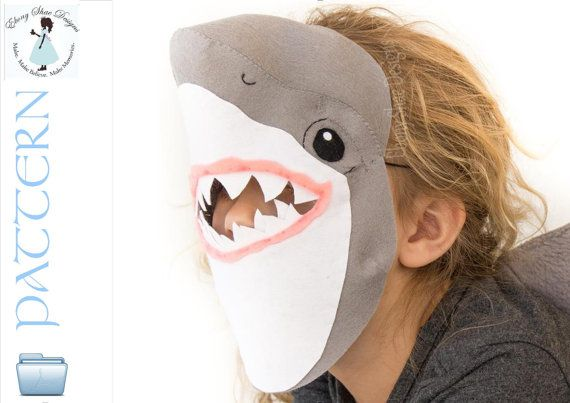 Kids Shark Mask PATTERN.  Digital Sewing by EbonyShaeDesigns