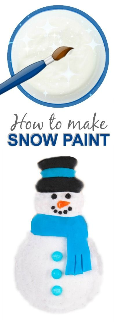Icy-cold snow paint recipe- only 2 ingredients and dries puffy and raised! #snowpaint #wintercraftsforkids #kidscrafts