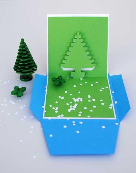 ダウンロードして手作りできる ピクセルで構成されたクリスマスポップアップカード