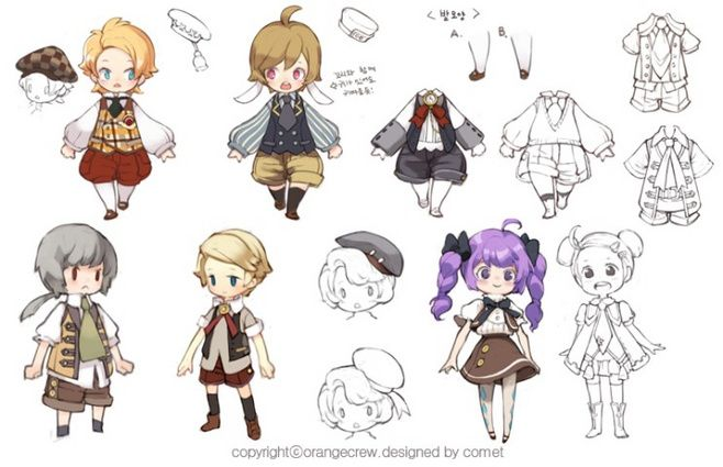 Chibi style characters in uniform.  Focus: proportions. Those cute clothes.