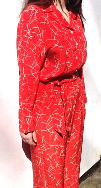 JAEGER RED & TAUPE SILK TWO PIECE BLOUSE/TROUSER SUIT #vintage