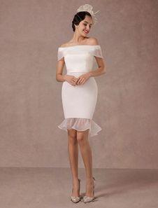 Vestido de novia corto de la sirena Off-the-hombro vestido de novia de raso vintage Vestidos de novia mini vestidos de novia de verano 2017