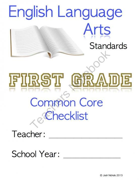 FILL and SAVE First Grade (1st Grade) CCSS ELA Checklist and Report Document from MrMathCoach Math Resource on TeachersNotebook.com -  (44 pages)  - A fillable checklist with three different formats to meet all your needs for CCSS documentation and tracking.