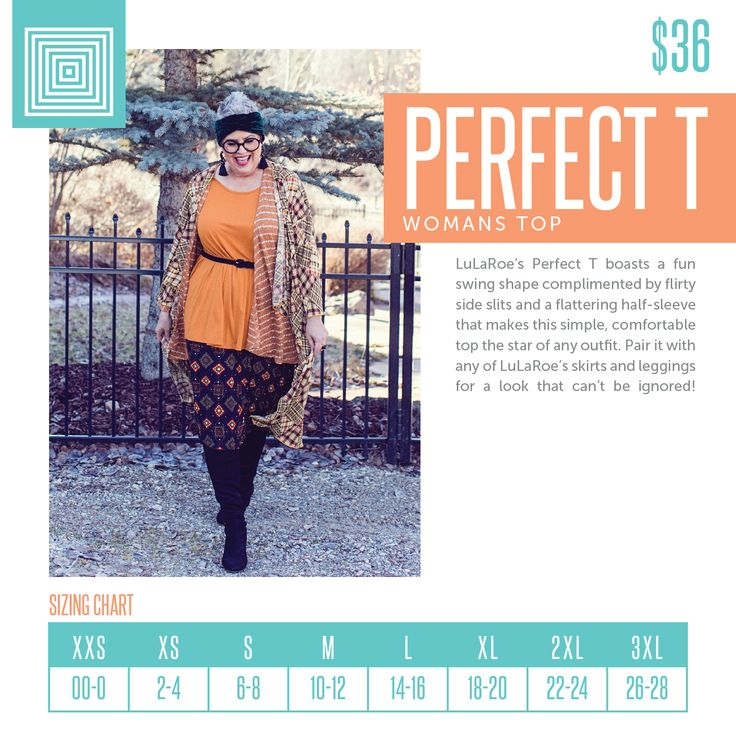 Perfect T is a loose fitting top that pairs well with skirts and leggings. Available xxs-3xl now at www.facebook.com/groups/lularoejodieotoole #perfect #lularoe #lularoestyles #lularoesizechart