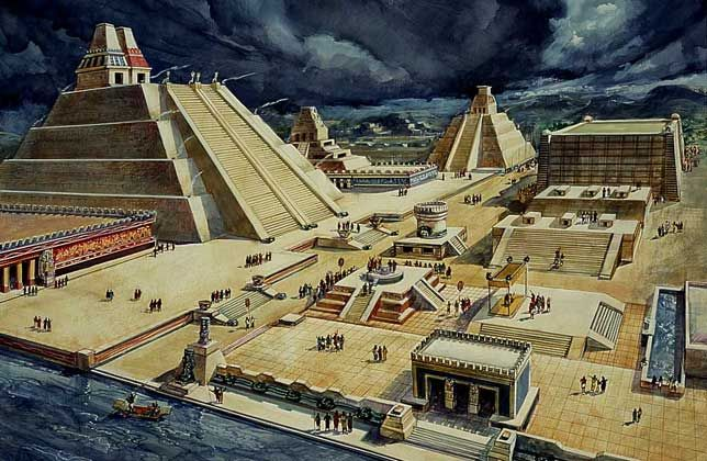 ARQUITECTURA AZTECA     Los aztecas querían demostrar su poder por ello construyeron edificios monumentales.  Tenochtitlán, capital del imperio fue construida sobre pequeñas islas y tierra pantanosa. Llegó a labergar 200.000 personas.El tipo de construcción más original de la arquitectura azteca fueron los templos gemelos, con doble escalinata de acceso. Los centros Tlatelolco y Tenochtitlan son los principales referentes de la arquitectura azteca.