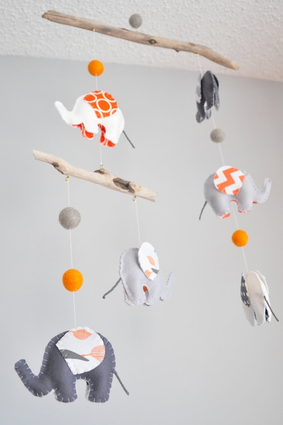 Baby Mobile  Elephant Mobile  Grey and Orange by GollyGeeGeorge, $96.00