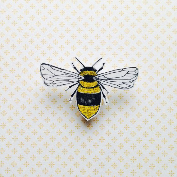 Illustrated bee shrink plastic brooch/pin by Stefmadendraws