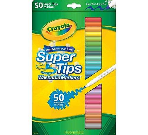 """Great markers for adult coloring - Crayola 50ct Washable Super Tips - """"Styles May Vary"""" Crayola"""