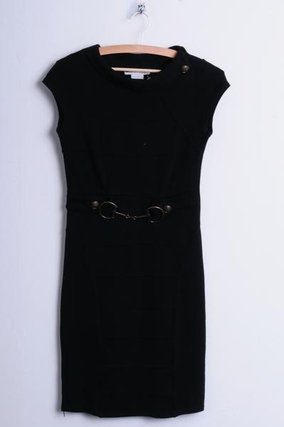 Jus D' Orange Paris Womens XS/S Dress Black Sleeveless Gold Belt Party - RetrospectClothes