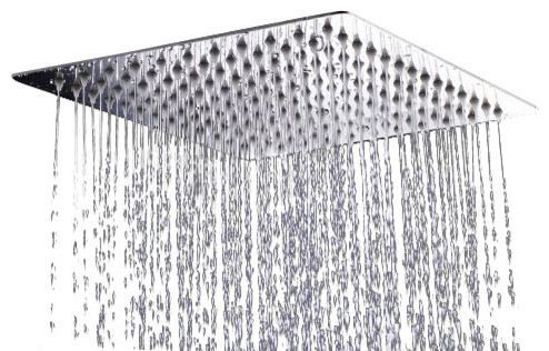 Square Stainless Steel Shower Head, Chrome Finish, With Arm modern-showerheads-and-body-sprays