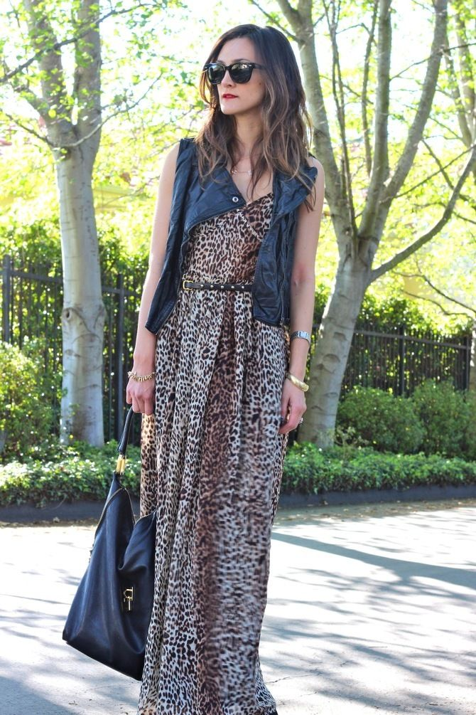 A leopard maxi can be styled a million ways...with a leather vest is one of my faves