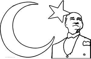Atatürk Ay Yıldız Boyama Sayfası Atatürk Ay Yıldız Boyama Sayfası