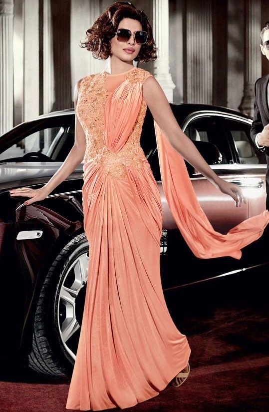 Priyanka Chopra Peach Saree Style Gown