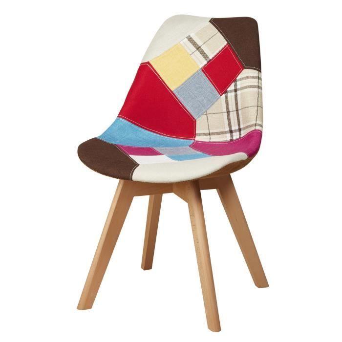 MARTINS Chaise en tissu patchwork multicolore + pieds en