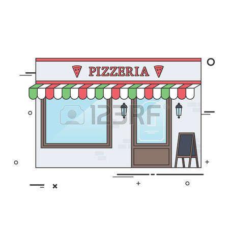 fachada restaurante: Vector plano Ilustración de la pizzería italiana o restaurante. Ideal para restaurante Negocios Web Publicaciones y Diseño Gráfico. Vectores