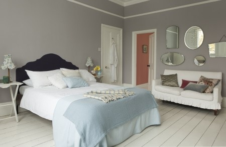 soft grey bedroom w/ painted headboard
