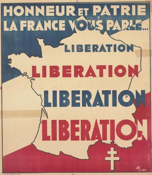 "(Free) French WWII propaganda poster: ""Honor and Country, France speaks to you…"" The two-barred cross, the Cross of Lorraine, was the symbol of the Free French Forces during German occupation"