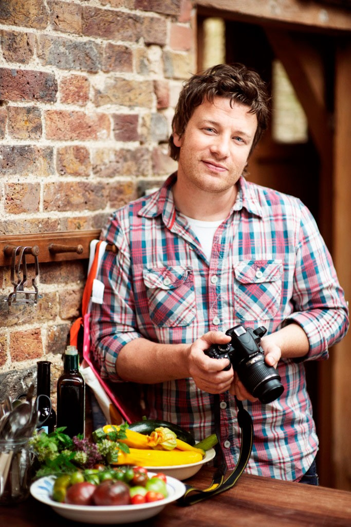 Jamie Oliver (born 27 May 1975) - chef, restaurateur, media personality. He has hosted food-centered TV shows, written cookbooks, and actively protestated for healthy cafeteria food at schools.