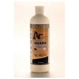 Marble Guard Protector (Sealer, Solvent Base).  Use Marble Guard Protector to completely seal marble. This marble sealer also works as a granite sealer, or for protecting stains on limestone, travertine, terrazzo, and other natural stones. It works best on polished marble. It penetrates deeper into the pores of polished marble than Marble Guard Protector WB. Marble Guard Protector WB works best on unpolished marble. 8 oz - $17.95, 16 oz 0 $25.95, 40 oz - $44.95