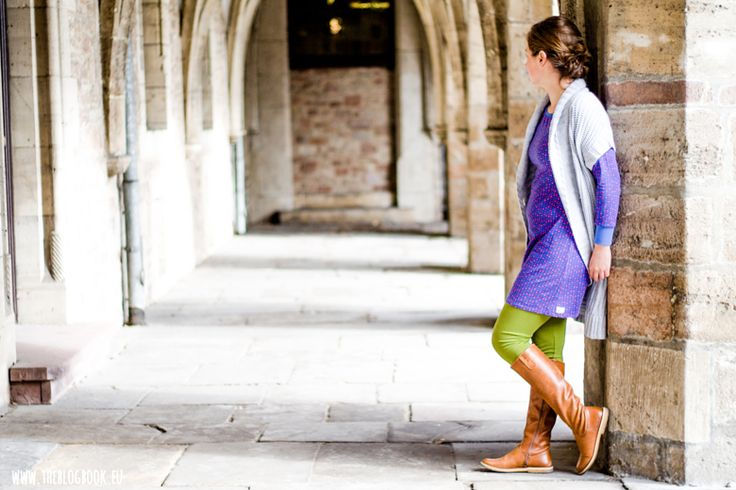 theblogbook | sewing | tunic with knitted cardigan (esprit), leggings and boots (kickers), lillestoff, enemenemeins