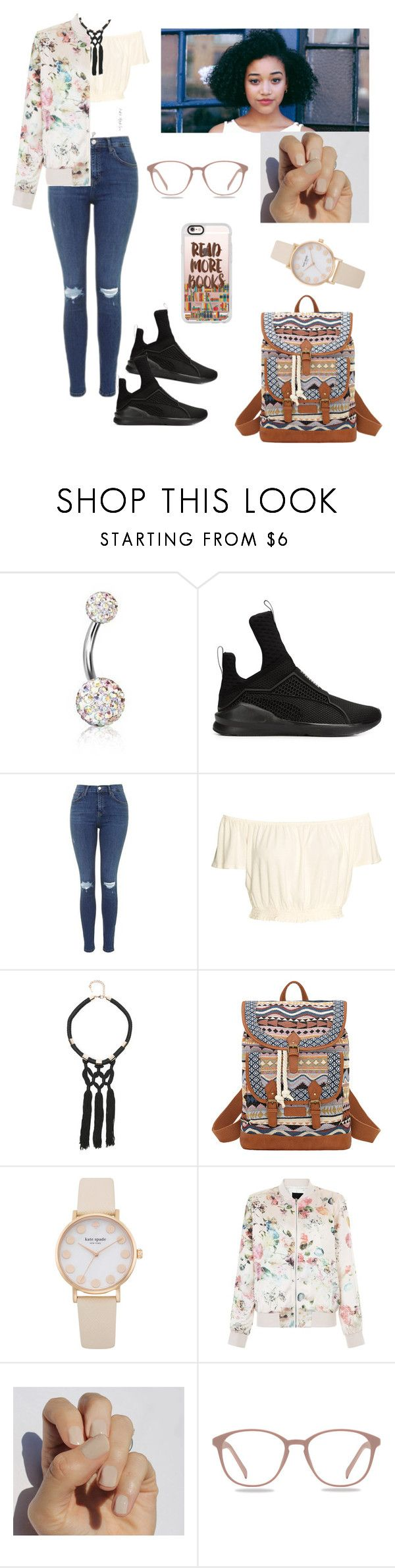 """""""The simplest outfit and you could still rock it❕❕"""" by tai-rah on Polyvore featuring Bling Jewelry, Puma, Topshop, Bebe, Bandana, New Look, Casetify, simple and schoolgirl"""