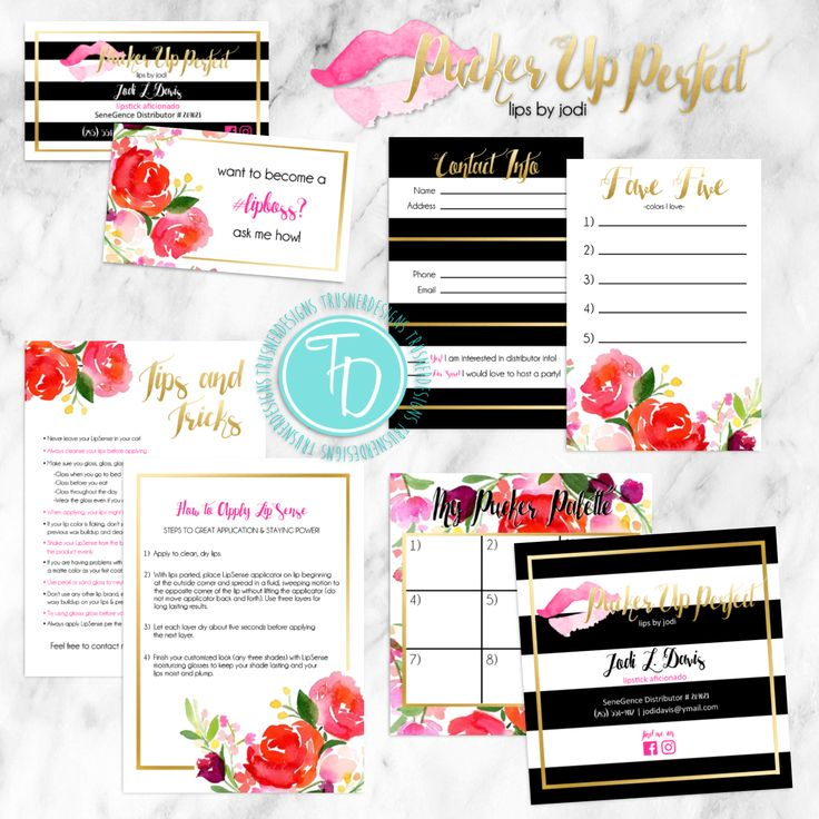 LipSense business cards and branding package by Trusner Designs