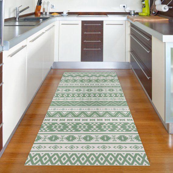 Kitchen Rug Printed On Vinyl Floor Mat With Green Kilim Etsy Green Kitchen Rug Kitchen Rug Vinyl Flooring