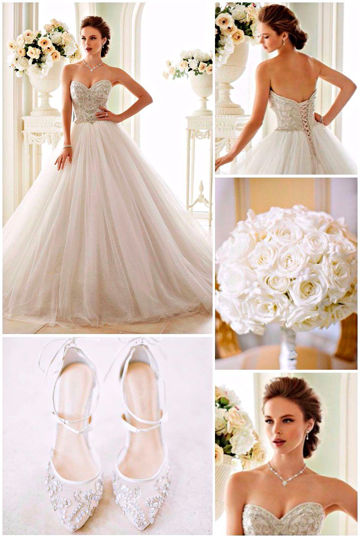 wedding looks: 9 bridal gowns, hairstyle, shoes & bouquet