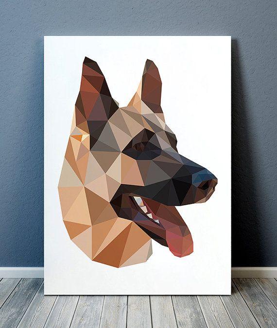 Geometry print Animal decor Dog poster Pet print by animalgeometry