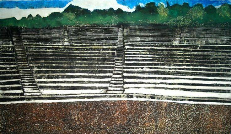 Δατσέρη, Σοφία. Αρχαίο Θέατρο, λαδοπαστέλ σε χαρτόνι, 35 εκ. x 65 εκ., 2013.