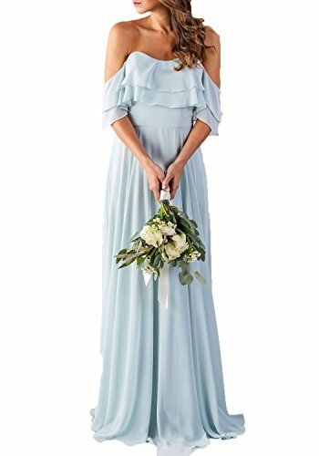 0bf43fd5b316 CLOTHKNOW Strapless Chiffon Bridesmaid Dresses Long with Shoulder Ruffles  for Women Girls to Wedding Party Gowns, #Clothing #Clothing,ShoesandJewelry  ...