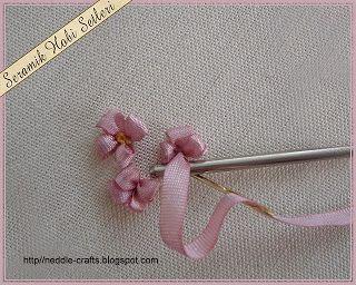 ورده جديده بالتطريز بالشرائط - rose in ribbon embroidery ~ شغل ابره NEEDLE CRAFTS WITH FULL TUTORIAL