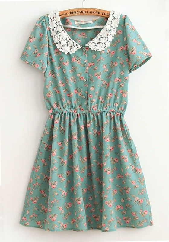 Blue Flowers Falbala Lapel Cap Sleeve Cotton Dress