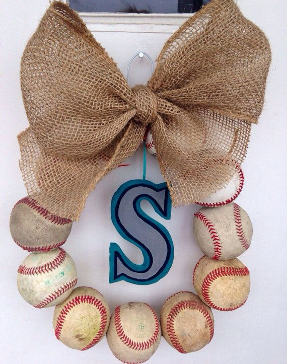 Seattle Mariners Burlap Baseball Wreath by NTgoodthings on Etsy                                                                                                                                                      More