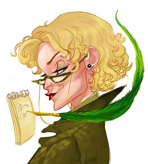Chapter 6: In her standard bright colors with her usual acid green Quick Quotes Quill, standing there smirking, was Rita Skeeter.