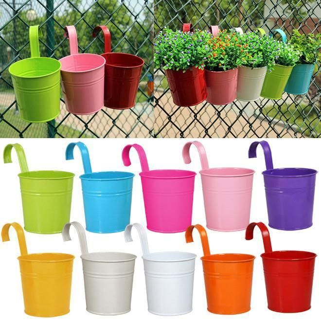 Outdoor Flower Planter Metal Pot Planters Garden Balcony Plant Patio Decor 10pcs #Outdoor