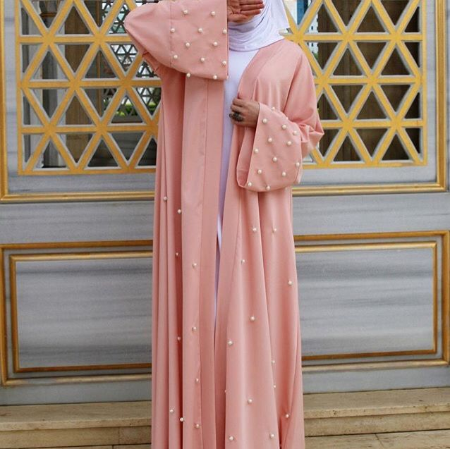 Peach Abaya. Hijabi