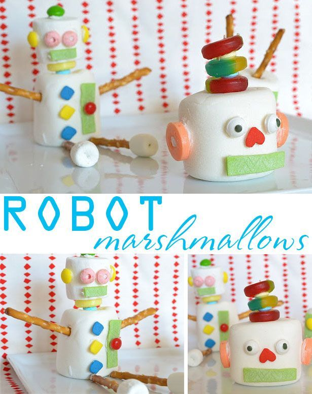 marshmallow robot treats - these are just adorable and perfect for a robot party!