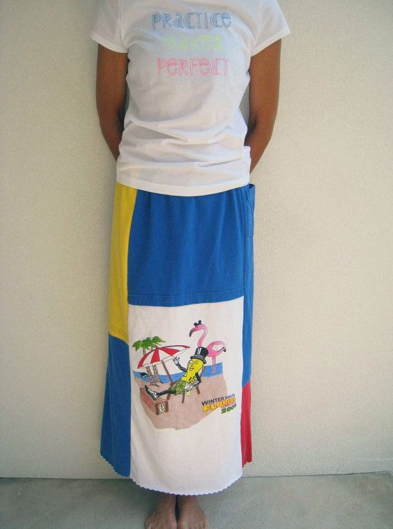 Long Straight T Shirt Skirt Mr Peanut Red Royal Blue
