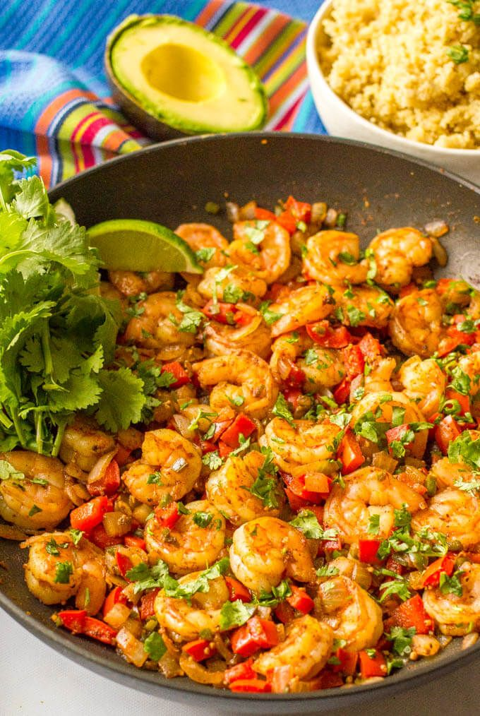 This quick and easy Mexican shrimp skillet is a one-pan dinner ready in just 20 minutes!