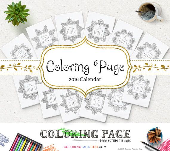 Printable 2016 Monthly Calendar #ColoringPages Printable Coloring Book Anti Stress Zen
