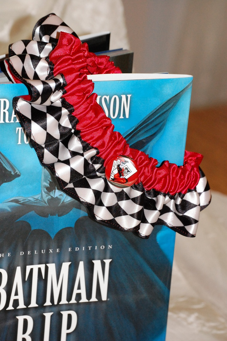 Custom Harley Quinn Themed Diamond Pattern Wedding Garter Or Convention  Garter